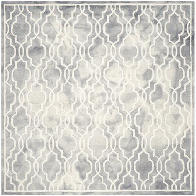 Emestina Hand-Tufted Gray/Ivory Area Rug Rug Size: Square 7