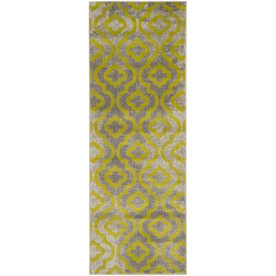 Manorhaven Light Gray/Green Area Rug Rug Size: Runner 24 x 67