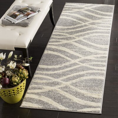 Marlee Gray/Cream Area Rug Rug Size: Runner 26 x 8