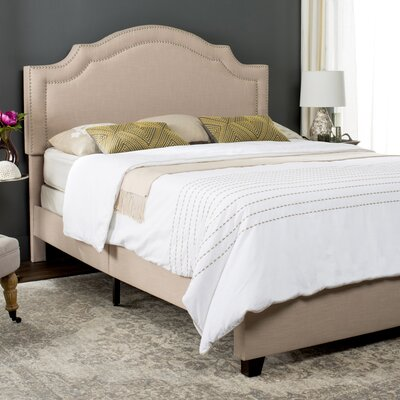 Berkshire Upholstered Panel Bed Size: Full, Upholstery: Light Beige, Nailhead Finish: Brass