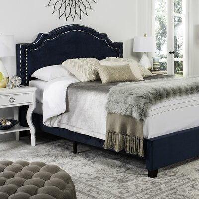 Avanley Upholstered Panel Bed Size: Full, Color: Navy