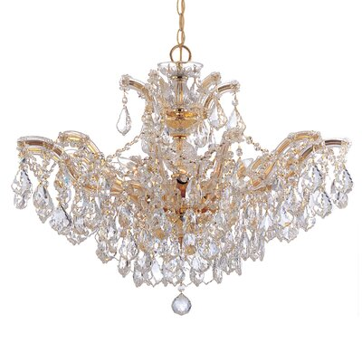 Griffiths 6-Light Crystal Chandelier Crystal Type: Hand Polished, Finish: Polished Gold
