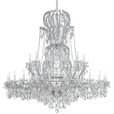 Milan 37-Light Crystal Chandelier Crystal Type: Majestic Wood Polished, Finish: Chrome