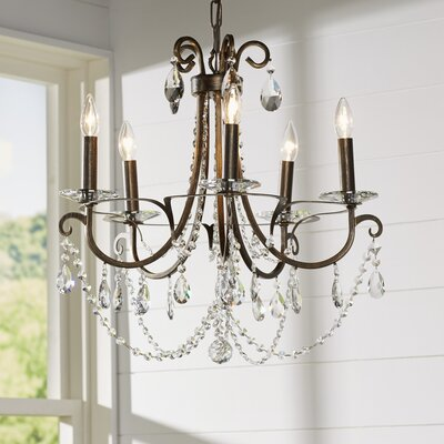 Roesler 5-Light Crystal Chandelier Finish: English Bronze Steel