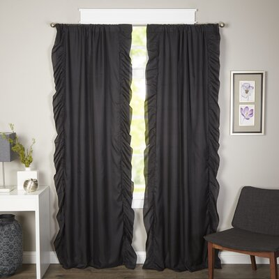 Wisbech Solid Blackout Rod Pocket Curtain Panels Color: Black