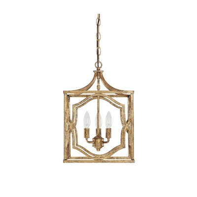 Destrey Traditional 3-Light Metal Foyer Pendant Finish: Antique Gold
