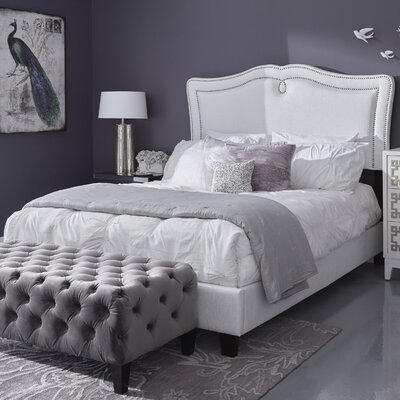 Fabian Sweetheart Shaped Upholstered Panel Bed Color: Glitz Crystal