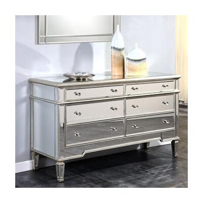 Ake 6 Drawer Dresser Color: Silver & Clear Mirror
