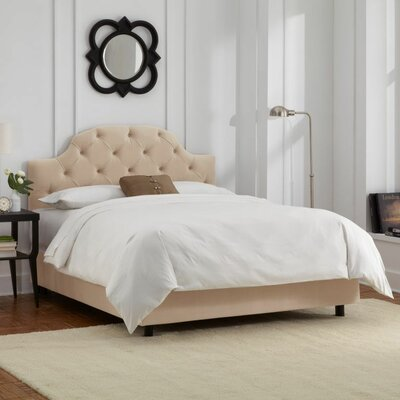Enedina Upholstered Panel Bed with Mattress Color: Velvet - Pearl, Size: Full