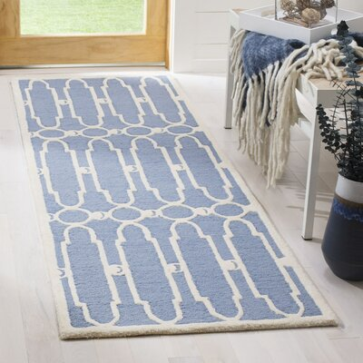 Janine Hand-Tufted Blue/Ivory Area Rug Rug Size: Runner 23 x 7
