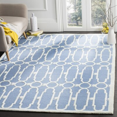 Kenton Hand-Tufted Blue/Ivory Area Rug Rug Size: 6 x 9