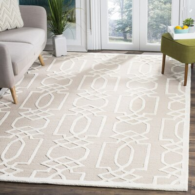 Janine Hand-Tufted Sand/Ivory Area Rug Rug Size: Rectangle 6' x 9'