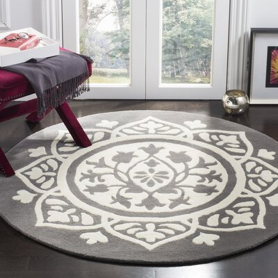 Romford Hand-Tufted Gray Area Rug Rug Size: Round 5