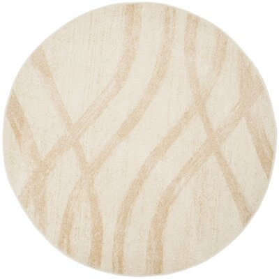 Marlee Cream/Champagne Area Rug Rug Size: Round 6
