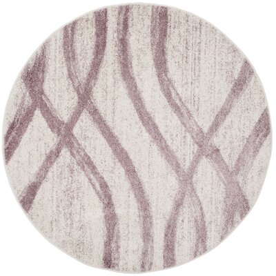 Marlee Cream/Purple Area Rug Rug Size: Round 6