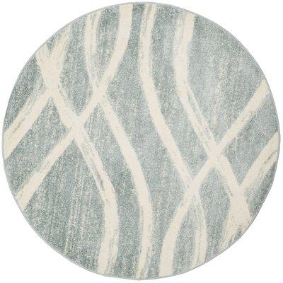 Marlee Cream/Slate Blue Area Rug Rug Size: Round 6