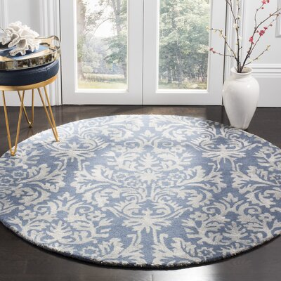 Mcguire Hand-Tufted Navy/Gray Area Rug Rug Size: Round 5