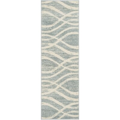 Marlee Cream/Slate Blue Area Rug Rug Size: Runner 26 x 8