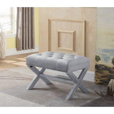 Hagen Tufted Nailhead Ottoman Upholstery: Gray