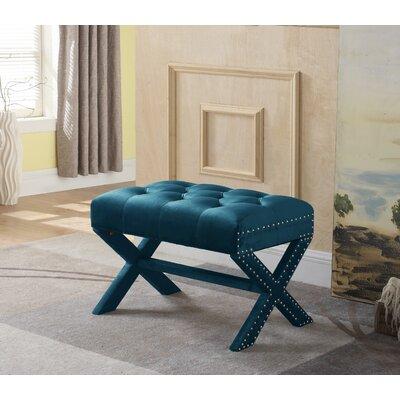 Hagen Tufted Nailhead Ottoman Upholstery: Green