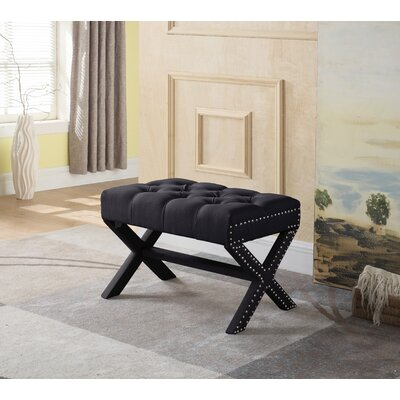 Stapleford Tufted Nailhead Ottoman Upholstery: Black