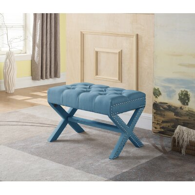 Stapleford Tufted Nailhead Ottoman Upholstery: Blue