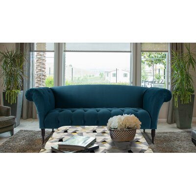 Livilla Tufted Camelback Sofa Color: Satin Teal