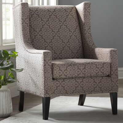 Agnes Wingback Chair Upholstery Pattern: Damask, Upholstery Color: Beige/Natural