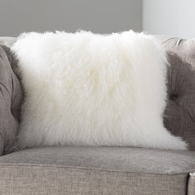 Springport Sheepskin Throw Pillow Color: White