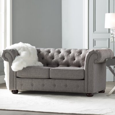Augustine Tufted Chesterfield Loveseat Upholstery: Gray