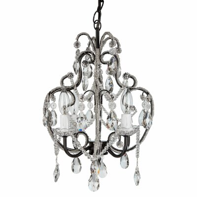Alida 4-Light Crystal Chandelier with Hooks Finish: Black