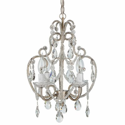 Alida 4-Light Crystal Chandelier with Hooks Finish: Silver