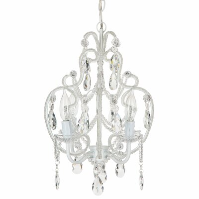 Alida 4-Light Crystal Chandelier with Chain Crystal Color: White