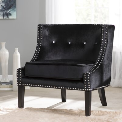 Rowsey Solid Armchair Upholstery Color: Black - Velvet