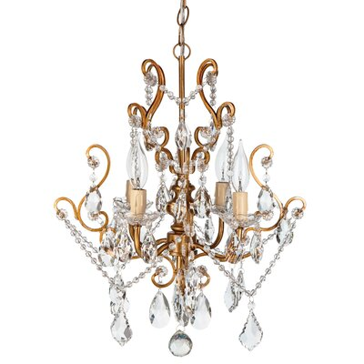 Alida 4-Light Glass Crystal Chandelier Finish: Gold