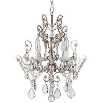 Alida 4-Light Glass Crystal Chandelier Finish: Silver