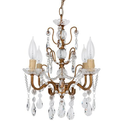 Sherwood 4-Light Crystal Chandelier Finish: Gold