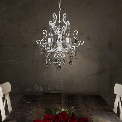 Alida 4-Light Glass Crystal Chandelier Finish: White