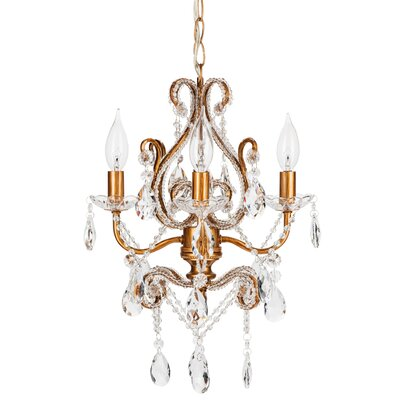 Alida 4-Light Adjustable Crystal Chandelier Finish: Gold