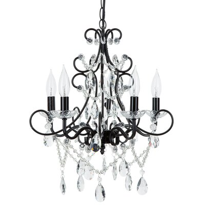 Sherwood 5-Light Crystal Chandelier Finish: Black