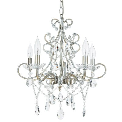 Sherwood 5-Light Crystal Chandelier Finish: Silver