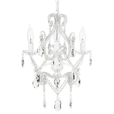 Alida 4-Light Adjustable Crystal Chandelier Finish: White