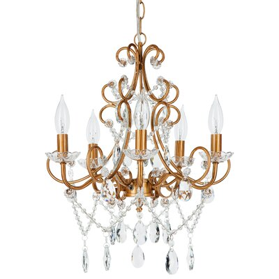 Sherwood 5-Light Crystal Chandelier Finish: Gold