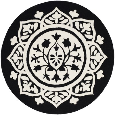 Romford Hand-Tufted Black Area Rug Rug Size: Round 5
