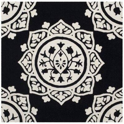 Romford Hand-Tufted Black Area Rug Rug Size: Square 5
