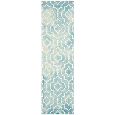 Hand-Tufted Turquoise/Ivory Area Rug Rug Size: Runner 23 x 8