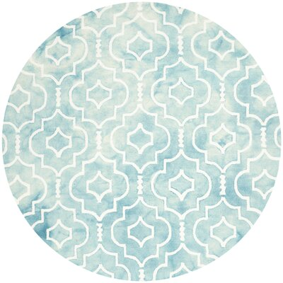 Hand-Tufted Turquoise/Ivory Area Rug Rug Size: Round 7