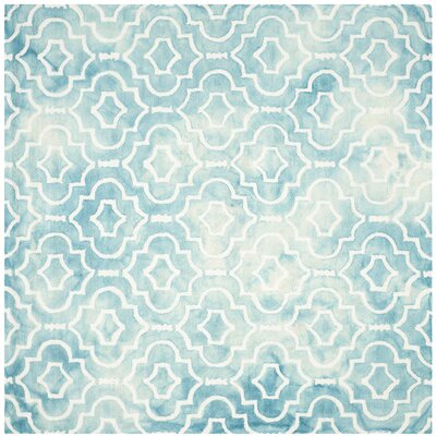 Hand-Tufted Turquoise/Ivory Area Rug Rug Size: Square 7