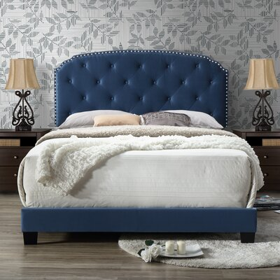 Angelena Queen Upholstery Panel Bed Upholstery: Blue