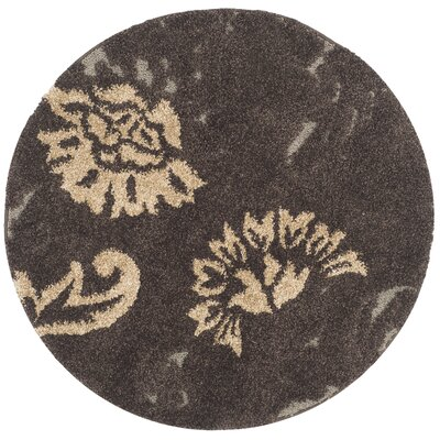 Flanery Dark Brown/Smoke Area Rug Rug Size: Round 4